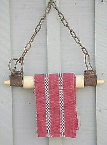 Old Primitive Farm Tools Wall Art Cow Kickers W Wooden Rolling Pin Towel Holder