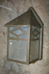 Vintage Outdoor Porch Wall Mount Light Mission Arts Crafts Checked Glass