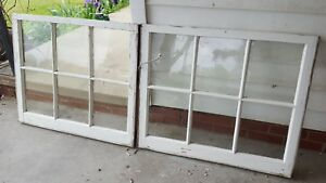 Architectural Salvage Antique Window Sash Frame 34x28 Set Of 2 Glass Removed