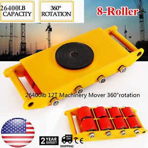 Pu Steel Wheel Dolly Skate 360 rotation 12t Industrial Machinery Mover Yellow Us