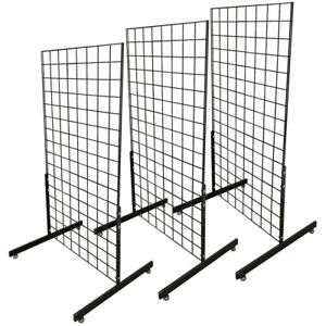 Set Of 3pc Gloss Black Gridwall Panel T leg Floor Stand Display Hanging 4ft Tall
