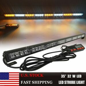 35 Inch Led Traffic Advisor Light Bar Strobe Warning Directional Amber White 32w