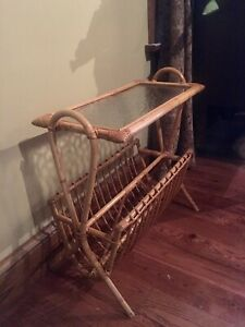 Vintage Bamboo Rattan Wicker Side Table Stand Mid Century