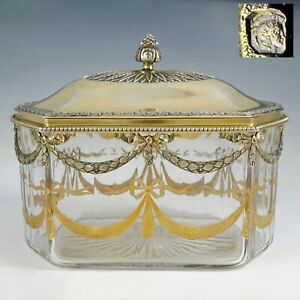 Antique French Sterling Silver Cut Crystal Tea Caddy Table Box Engraved Motif