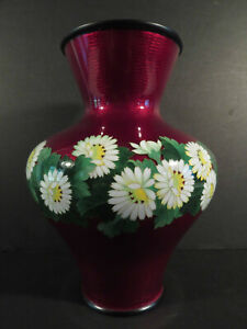 Japanese Cloisonne Signed Large Ando Pigeon Blood Red Vase W Flowers