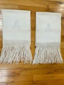 Vintage Victorian Damask Tea Towels Show Towels W Fringe Wedding Towels M