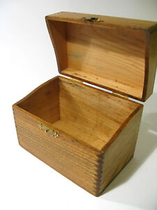 Antique Fingerjoined Solid Oak Desk Top Index Card Filing Box