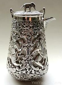 Antique Rare Asian Chinese Japanese Solid Silver Sake Tea Kettle Pot