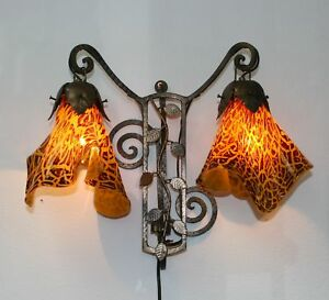 Art Deco Style Handmade Wrought Iron Sconces Blown Glass Shades Romania