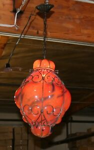 Handcrafted Wrought Iron Ceiling Lamp With Red Hand Blown Art Glass Shades
