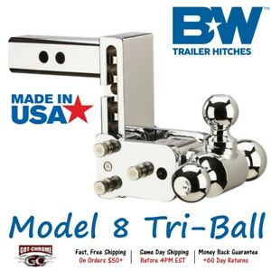 Ts10048c B w Chrome 5 Drop Tow Stow Adjustable Tri Ball Mount Receiver Hitch