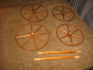 4 Antique Wooden Wheels 1800s 8 6 Wood Spokes 12 For Toy Carriage Or Pram