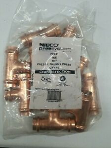 10 Pack Nibco Pressystem Pc611 Tee 3 4 Copper Press Fittings