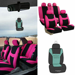Pink Black Seat Covers Full Set For Auto W Steering Cover Belt Pads And More