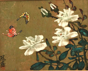 Antique Chinese Signed Watercolor W Butterflies White Roses Painting S762