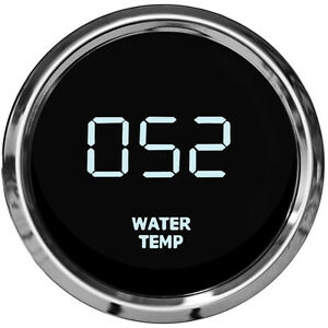 2 1 16 Digital Water Temp Gauge White Leds Chrome Bezel 52mm Lifetime Warranty