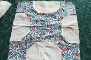 Vintage Antique Bow Tie Quilt Blocks Hand Stitched Feed Sack Cotton 10x10 1940s