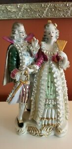 Victorian French Courting Couple Ruffle Porcelain Figure Statue Made In Japan