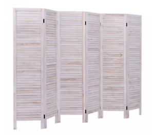 Room Divider Privacy Screen Folding Wall 6 Panel Wood Partition Rustic Shutter