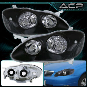 For 03 08 Toyota Corolla Black Headlights Set Headlamps Lights Lamps Left Right