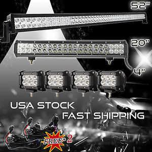 52inch Led Light Bar Combo 20inch 4inch Pods Offroad Suv 4wd Atv Ford Jeep 50