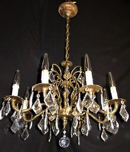 Vtg Deco Era French Spain Crystals Cust Brass Chandelier Ceiling Fixture 1950 S