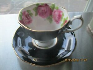 1950 S Royal Albert Bone China Black Malvern Tea Cup And Saucer