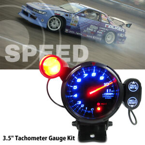 3 5 Inch Car Blue Led Tachometer Gauge Meter With Shift Light 11000rpm New Usa