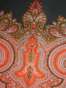 Vintage Belgian Paisley Piano Shawl Throw Both Sides Beautiful