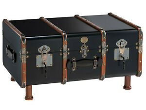 Stateroom Steamer Travel Trunk Black Coffee Table Antiqued Storage Furniture New