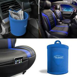 Faux Leather Seat Covers Cushion Pad Front Bucket Blue W Cup Holder