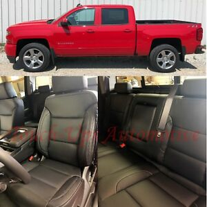 2014 2018 Chevrolet Silverado Wt Crew Cab Katzkin Black Leather Seat Covers Kit