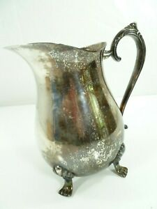 Vintage Leonard Silver Plate Footed Water Pitcher With Ice Lip 8 1 2 Patina