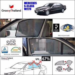 2 Pcs Rear Foldable Mesh Curtain Car Sun Shade Fit For Benz S class W220 lwb