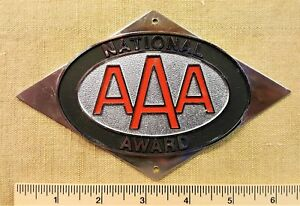 Vintage Aaa National Award License Plate Topper Radiator Grille Badge Auto