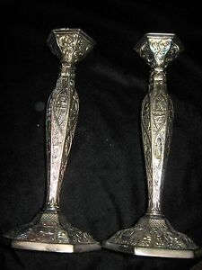 Antique Silverplate Pair Candlesticks Ornate Dutch Motif Repousse Style 10 Tall