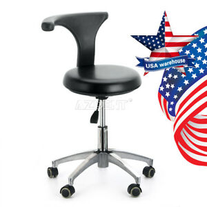 Dental Lab Dentist Doctor Pu Leather Assistant Stool Adjustable Mobile Chair