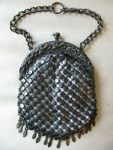 Antique Art Nouveau Floral Gun Metal Patina Chatelaine Chain Mail Kilt Purse