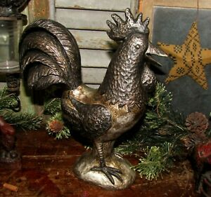 Primitive Antique Vtg Style Country Silver Pewter Look Rooster Resin Chicken