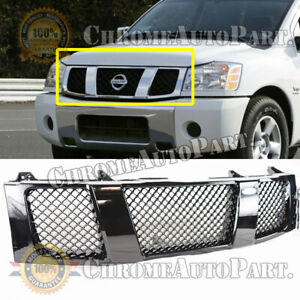 Fits 2004 2005 2006 Nissan Titan Mesh Type Gloss Black Front Bumper Grill Grille
