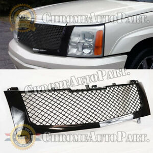 Front Hood Bumper Grille For 2002 2006 Cadillac Escalade Glossy Black Mesh Grill