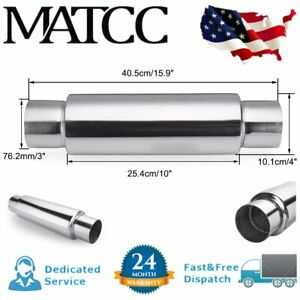 3 Inlet Outlet Universal Car Exhaust Muffler Resonator 16 L Stainless Steel