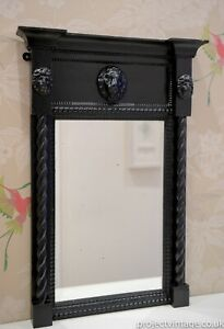 Small Victorian Faux Ebonized Pier Mirror Decorated With Barley Twist Columns