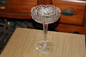 Antique Cut Glass Vase Martini Drinking Glass Jewelry Holder Long Stem Sawtooth