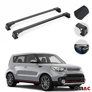 Roof Racks Cross Bars Luggage Carrier Black 2 Pcs For Kia Soul 2014 2019