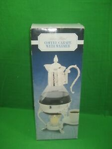 Vintage Silver Plated Coffee Carafe With Warmer Made In Hong Kong Intricate