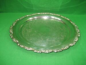 Vintage Silver Plated Round Etched Oneida 15 Serving Platter Tray Intricate