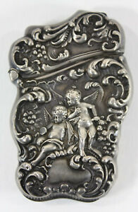 Unger Brothers Art Nouveau Sterling Silver Match Vesta Case With 2 Cupids C 1900
