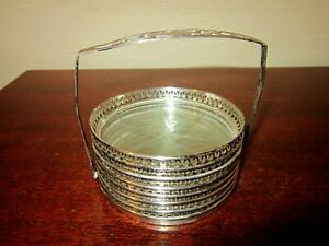 7 Vint Silver Plate Etched Crystal Drink Coasters 3 Diam Caddy 3 1 2 Tall