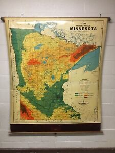 Vintage Antique Pull Down Cram S Physical Political Minnesota Map Great Color